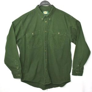 Cabellas Men Safari Style Green Camp Shirt Large